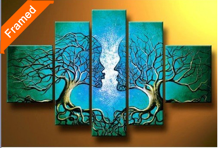 Abstract man face oil painting natural trees canvas - Oil painting ideas for living room ...