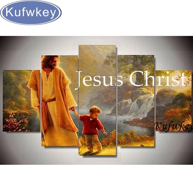 Diy 5 pcs/ensemble mosaïque kit complet diamant broderie Jésus christ figure diamant peinture point de croix forage carré multi-photos