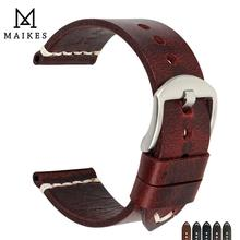 MAIKES حقيقية جلد البقر حزام ساعة اليد اليدوية Watchbands خمر الأحمر معصمه ل بانيراي 20 مللي متر 22 مللي متر 24 مللي متر حزام (استيك) ساعة