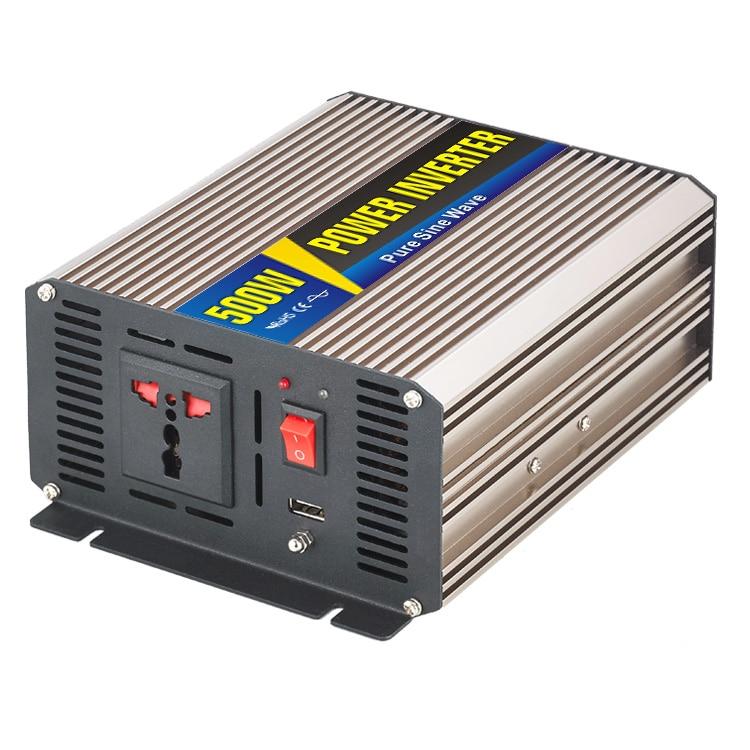 500W Car Power Inverter Converter DC 48V to AC 120V Pure Sine Wave Peak 1000W Solar Power Off Grid Inverter