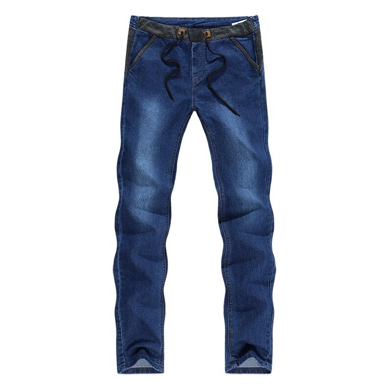 KSTUN Mens Jeans Korean Quality Brand Dark Blue Slim Leg Drawstring Casual Trousers Male Joggers