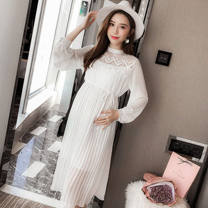 Image 3 - High Quality Chiffon Dresses Maternity Clothes For Pregnant Women Long Sleeve Pleated Dresses Pregnancy Maternity Vestido Spring