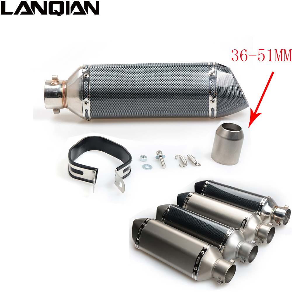 Universal Motorcycle Exhaust Modified Muffler Pipe 38-51mm GY6 Slip-on Exhaust For Muffle Escape Moveable DB Killer