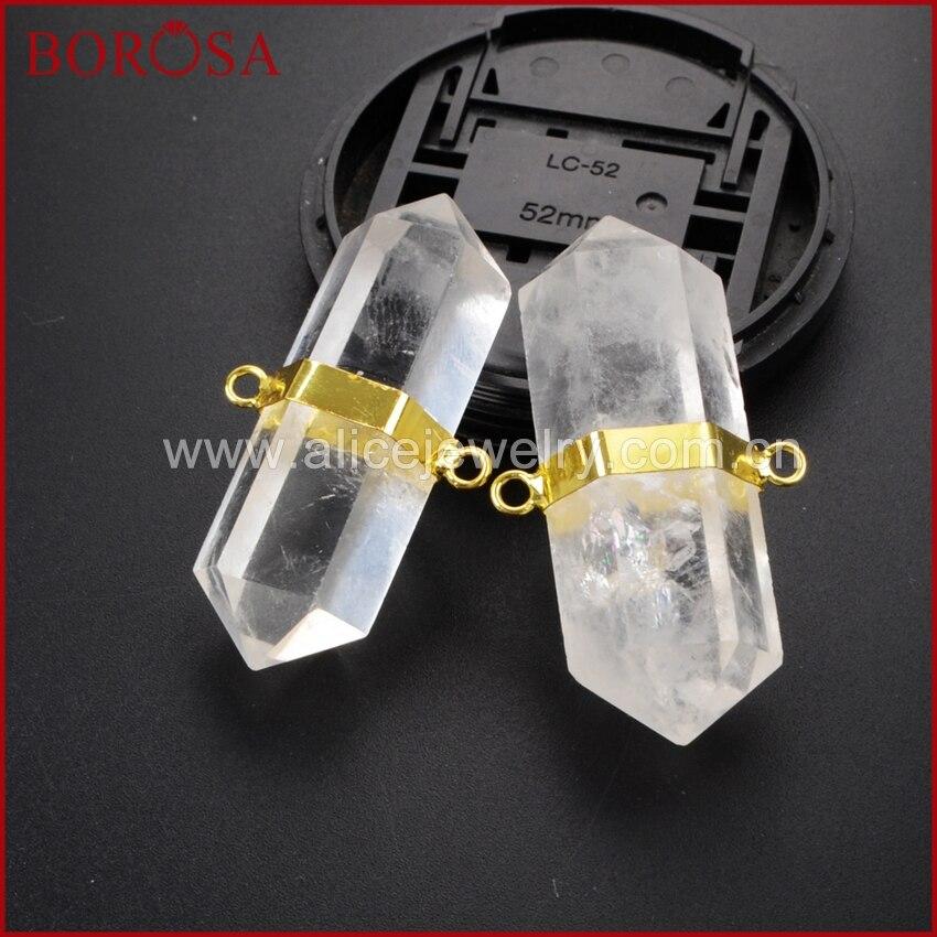 BOROSA, шестигранная Золотая, белая, кристальная, Кварцевая, с соединителем, с двойными кристаллами, с кристаллами, кварцевые подвески для женщ...