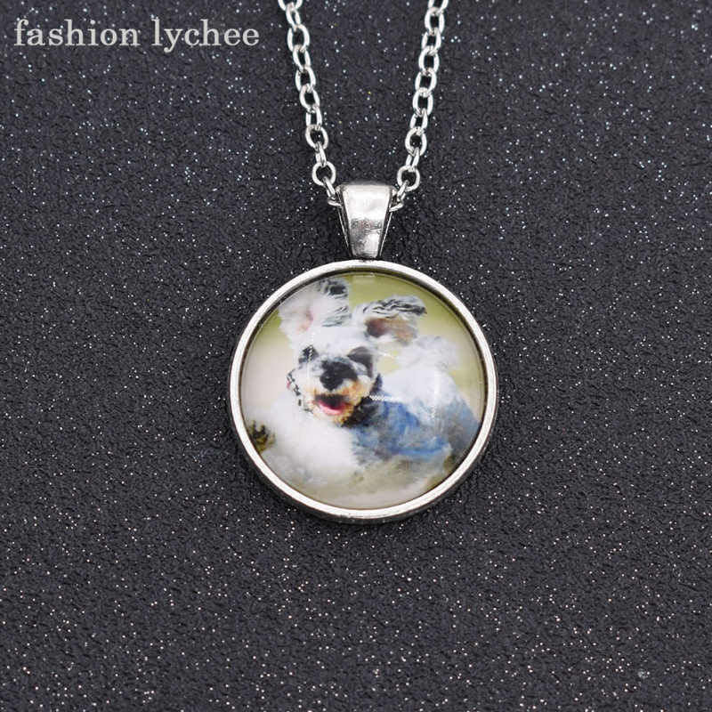 fashion lychee Cute Pets Sleeping Running Dog Image Cabochon Pendant Necklace Glass Jewelry Gift For Girls Boys