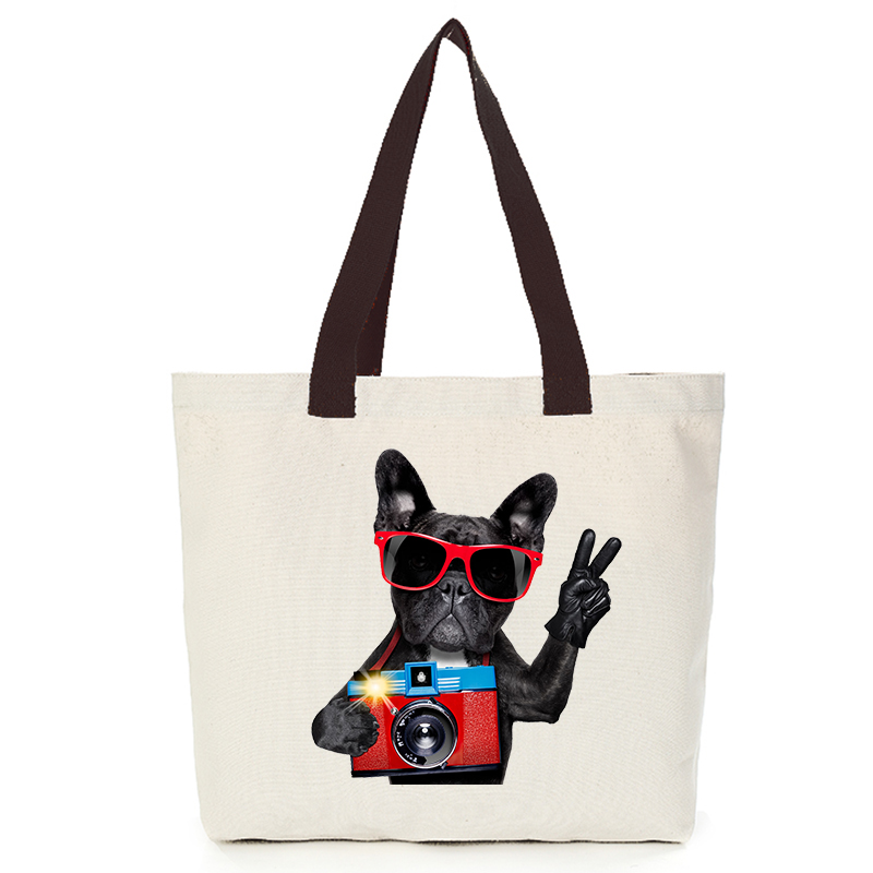 Origina cool dog series canvas custom tote bag customize eco bags diy logo shopping bag with logo  Dachshund Shepherd Dog Poodle (5)