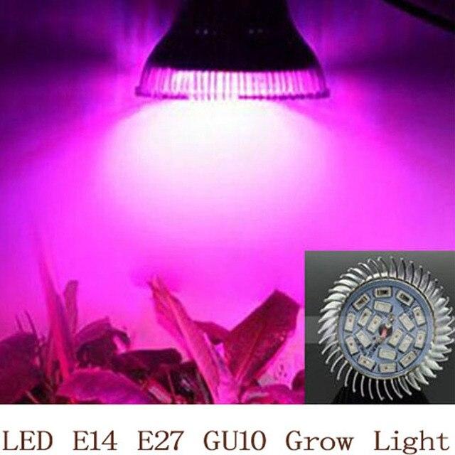 Lleno espectro LED crecer luz 18 W E14/E27/GU10 foco bombilla de la lámpara de planta de flor de efecto invernadero sistema hidropónico caja de crecimiento de 110 V 220 V