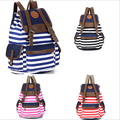 New arrive women men Canvas Big capacity Backpacks Pattern striped Preppy style shoulder bag for Casual Travel