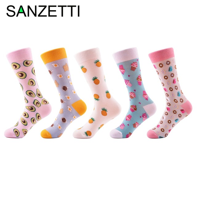 Happy Socks by Sanzetti 5 Pair/Lot Novelty Fashion Combed Cotton Women Socks Pineapple Avocado Ice Cream Pattern Happy Funny Socks For Girl