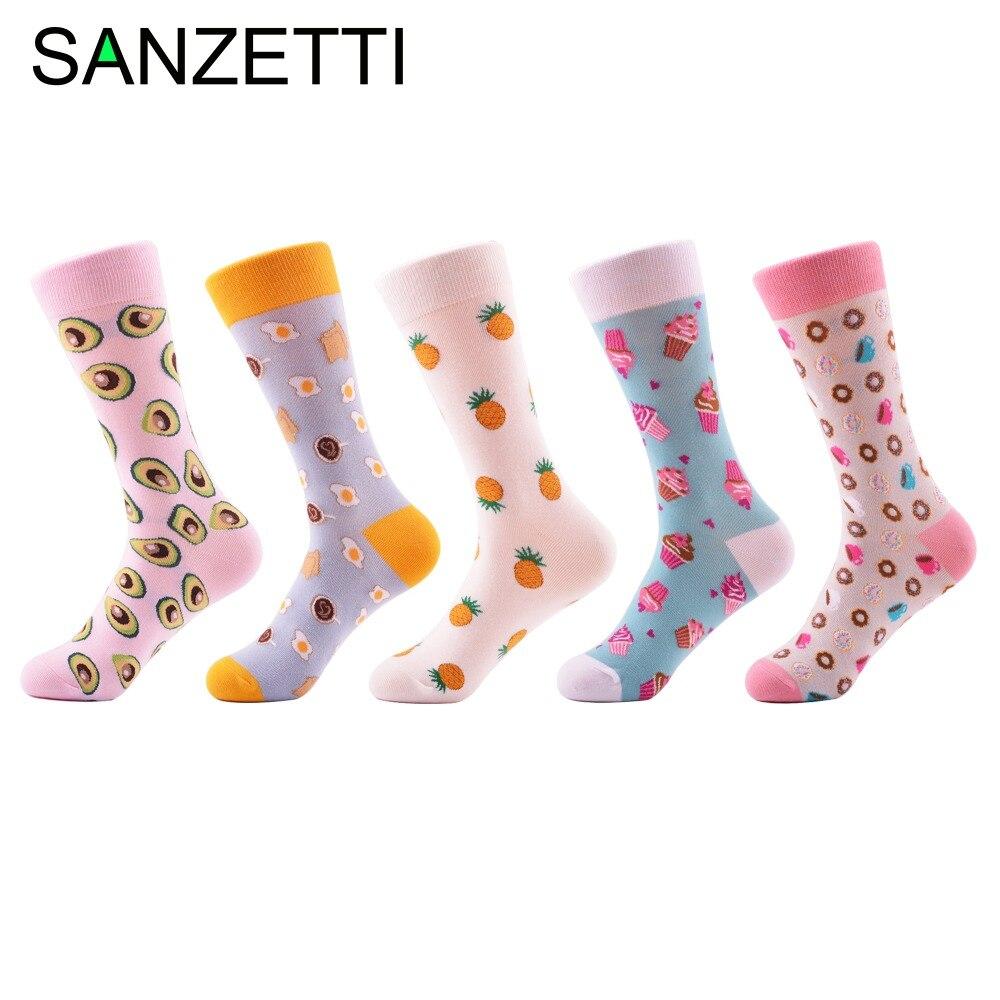 SANZETTI 5 Pair/Lot Novelty Fashion Combed Cotton Women   Socks   Pineapple Avocado Ice Cream Pattern Happy Funny   Socks   For Girl