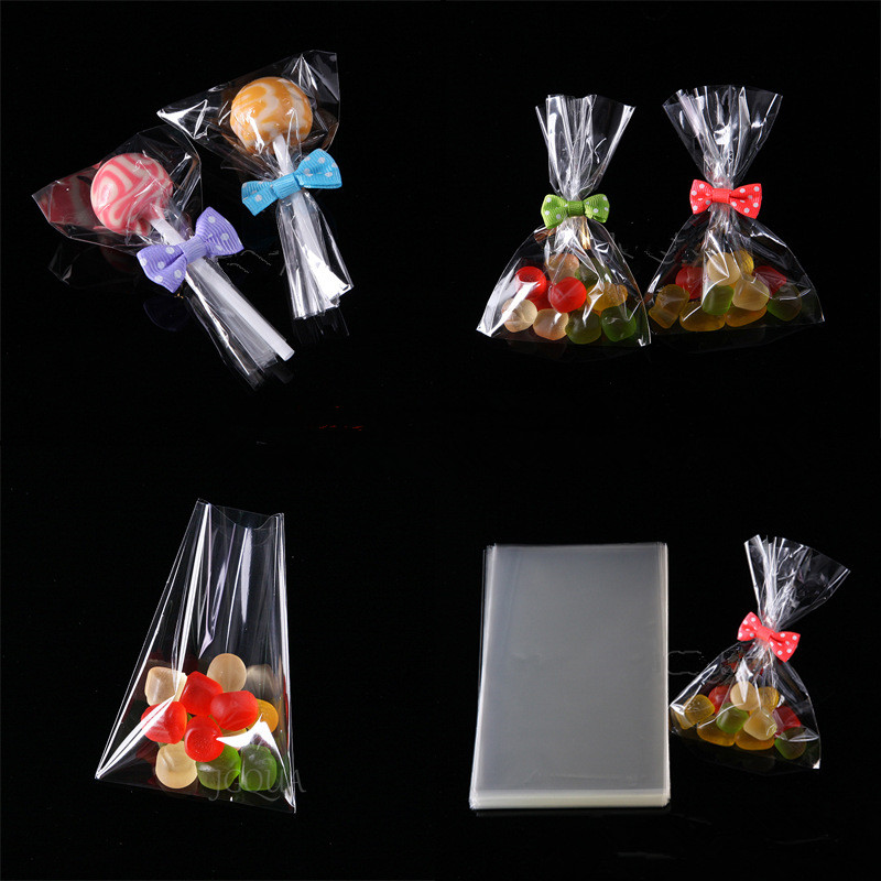 100pcs/lot Transparent Opp Plastic Bags Dragee Candy Lollipop Cookie Packaging Cellophane Bag Wedding Party Gift Bag Wrapping