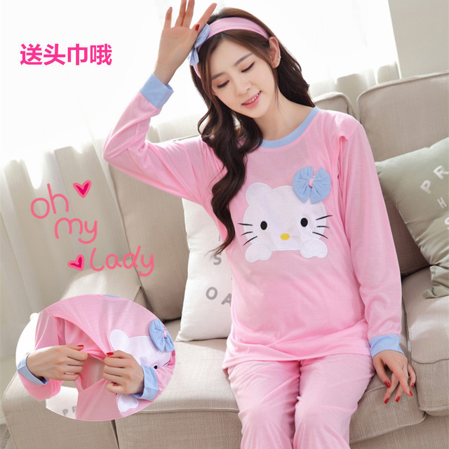 Hello kitty breastfeeding maternity nursing pajamas sleepwear nightgown Dresses clothes for pregnant women shirt feeding female