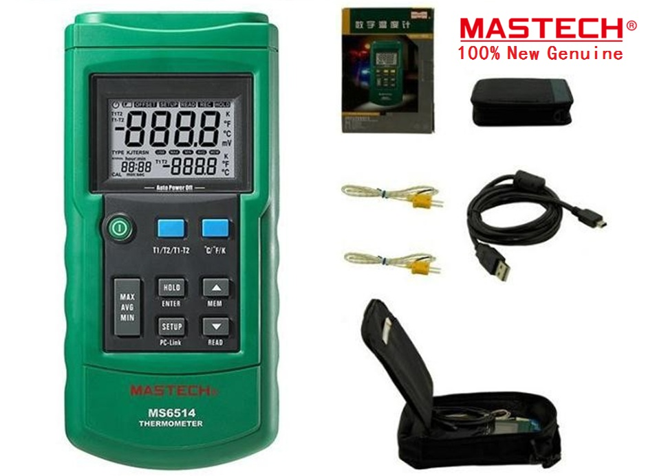 Hot Dual Channel Digital Thermometer Temperature Logger Tester USB Interface 1000 Sets Data KJTERSN Thermocouple MASTECH MS6514 ht 9815 digital k type thermocouple thermometer thermocouple probe sensor industrial temperature tester 200c 1372c dual channel
