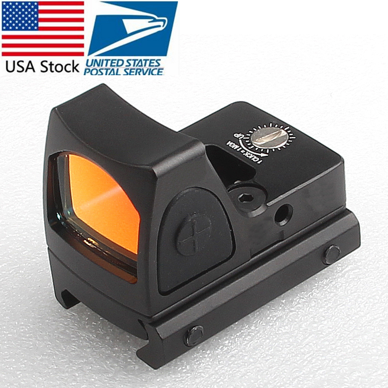 US Stock Mini RMR Red Dot Sight Collimator Glock  Reflex Sight Scope fit 20mm Weaver Rail For Airsoft Hunting Rifle RL5-0004-2 mini rmr style 1x red dot sight scope for picatinny rail and glock base mount key switch 6 moa black m6293