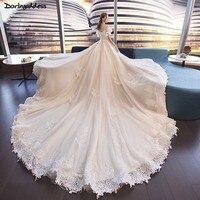 Luxury Arabic Ball Gown Wedding Dresses 2018 Plus Size Lace Wedding Dress Open Back Long Train Wedding Gown Vestido De Noiva