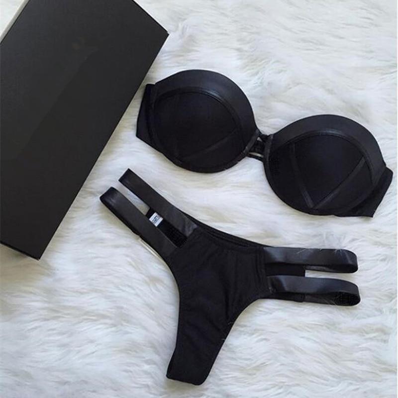 Black Bandeau Bikini Set Strapless Swimwear Women Push Up Biquini Sexy Thong Bikini Patchwork Swimsuit Backless Bathingsuit