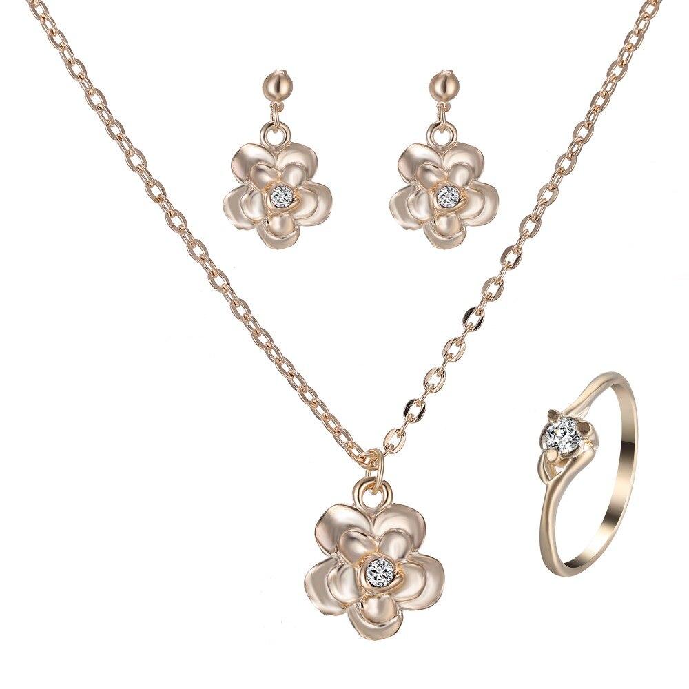 Blume Schmuck Set Gold Halskette Ohrring Ring Schmuck Für Frauen Braut Hochzeit Party Geschenk Herausragende Eigenschaften