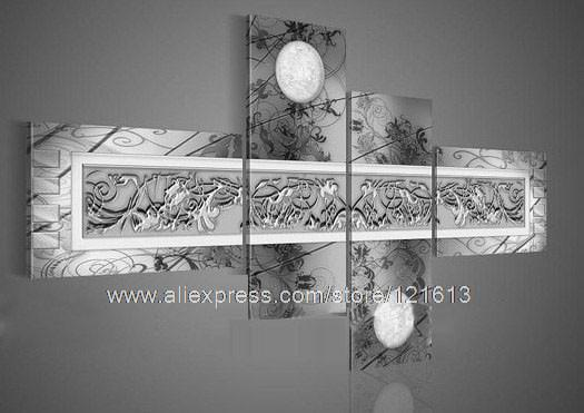Art Home Flower Group Moon Flower Pattern On Grey Chastity Silver Wall Art Wall  Decor Paintings