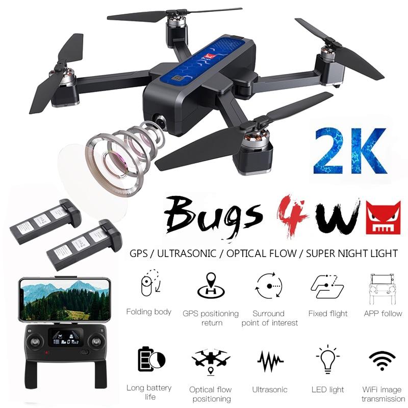 Drone pliable sans brosse de MJX Bugs 4 W B4W 5G GPS avec la caméra HD de WIFI FPV 2K anti-secousses 1.6KM quadrirotor de RC d'écoulement optique de 25 minutes