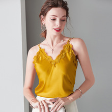 купить Gold Embroidery Lace Top V Neck 100% Silk White Shirt Stain Cami Black Spaghetti Strap Tank Top Women Clothes Backless Sexy Tops в интернет-магазине