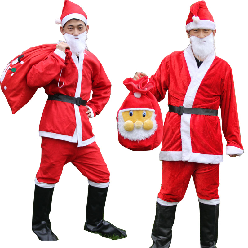 6pcs/set Christmas Santa Claus Costumes Men Suit with Beard and bags Fancy Cosplay Costumes  New Year Party Clothing Dress up