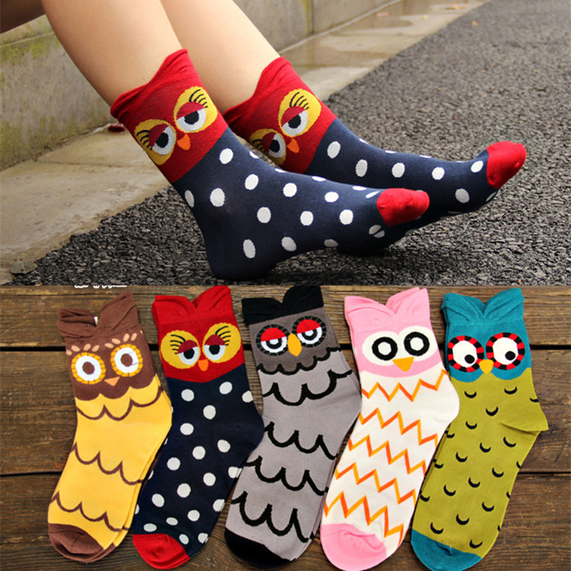 High Quality Cotton Women   Socks   Cute Cartoon 3D Animal Owl Funny Happy Scoks Comfortable Spring Fall Winter Creative Ladies   Sock