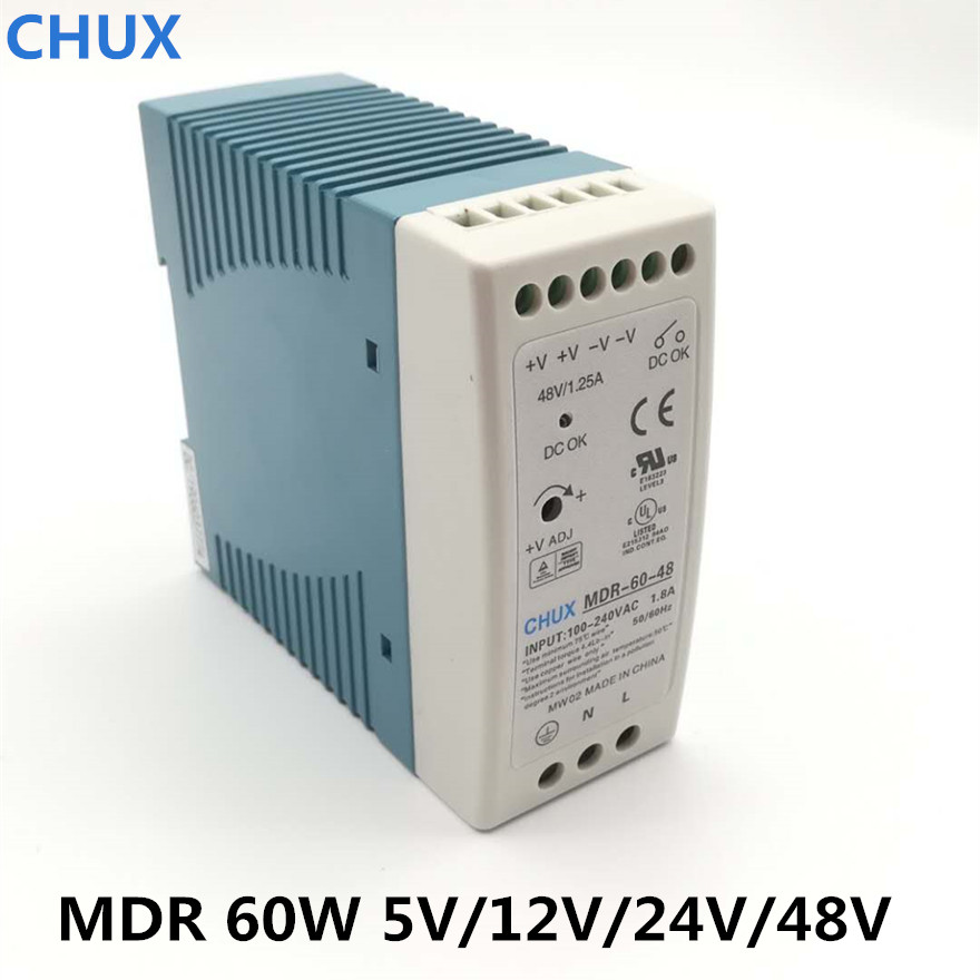 CHUX High Quality Din Rail Switching Power Supply <font><b>60W</b></font> <font><b>5V</b></font> 12V 24V 48v output LED Driver CE Certificate MDR-60 Transformer image