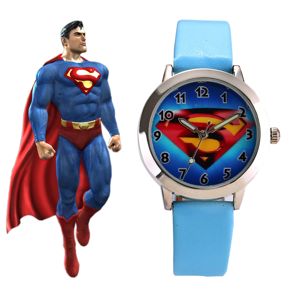 New Fashion Blue Cartoon Superman Child Watch Kids Quartz Sport Watch Boys Wristwatch Relojes Relogios