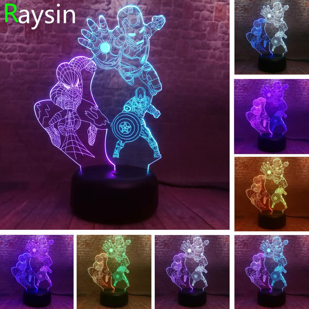 Amroe 3 Hero Avengers Endgame Marvel Ironman Spiderman Captain America Figure 3D NightLight LED 7 Mixed Colors Change Light Toy