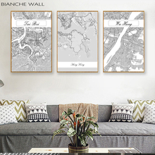 BIANCHE WALL Nordic China City Black White  Map Canvas Posters Living Room Wall Art Pictures Home Decor Painting