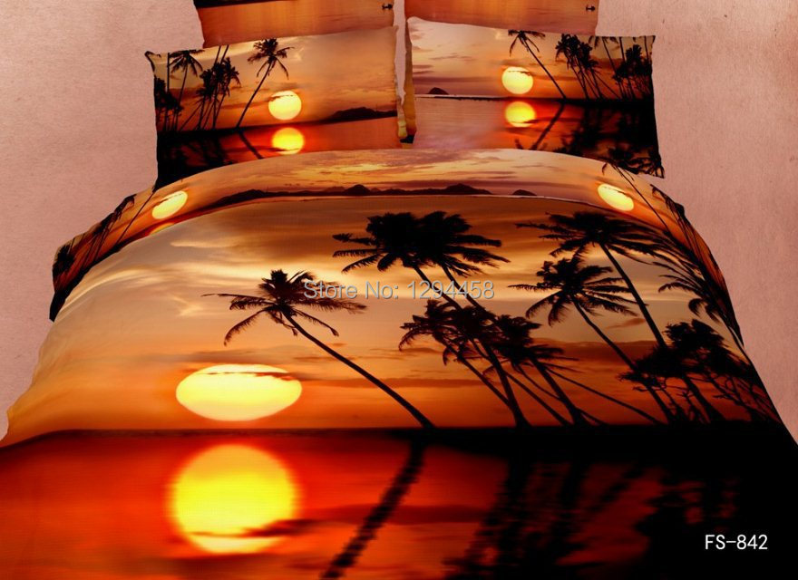 3D Bedding Sets Queen Size Natural Scenery Marine Animals Duvet Cover Bed  Sheets Bedlinens 4pieces Bedclothes Cotton Comforters In Bedding Sets From  Home ...