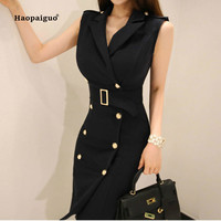 2018 Solid Plus Size Pencil Dress Summer Women Black Sleeveless Tank Notched Knee length Vintage Office Dress Elegant Dresses