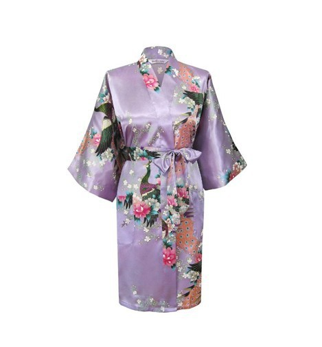 2014 New Lavender Women's Silk Rayon Robe Novelty Kimono Bath Gown Lounge Nightwear Free Shipping Szie S M L XL XXL XXXL