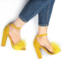 цена New 2019 Summer Sexy High Heels Women Sandals with Fur Party Shoes Ladies Sandals Ankle Buckle Open Toe Lace up Pumps for Women онлайн в 2017 году