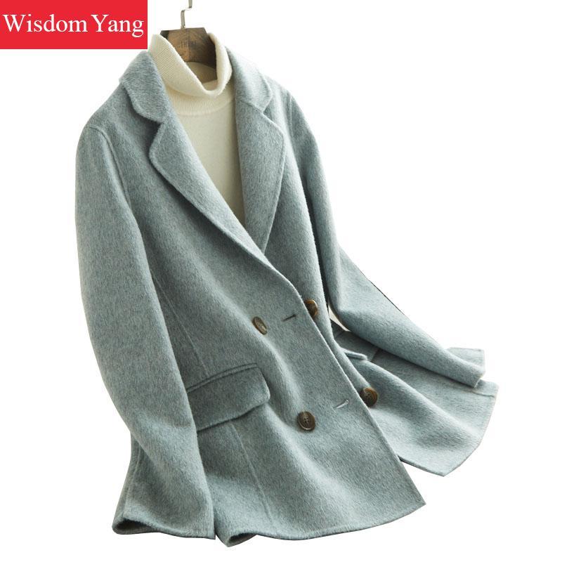 Blue Sheep Wool Alpaca Womens Coats Suit Winter Warm Elegant Female Overcoat Woolen Slim Office Ladies Suits Coat Outerwear