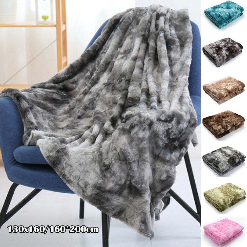 Super Soft Faux Fur Throw Blanket Fuzzy Light Weight Luxurious Cozy Warm Fluffy Plush Blanket 7 Colors