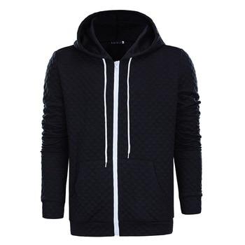 2018 Fashion Men's Hooded Black White Hoodie Long Sleeve Zip Up Fitness Jacket Sporting Outwear Coat фото