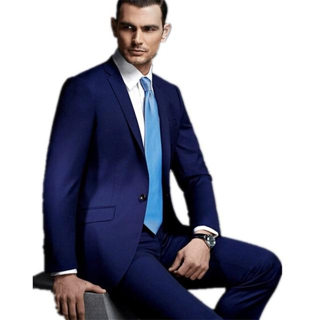 Elegante Novio Para Matrimonio Desgaste Azul Oscuro Hombres Maduros - Moda-para-hombres-maduros