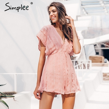 Simplee Casual backless women summer romper Lace up v neck pink ladies sweat chiffon jumpsuit Holiday beach elegant overalls