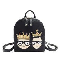 Cartoon Woman Backpack 2017 Autumn Fashion New Womne Bag Diamond Crown Hit Color Rivet Shoulder Bag