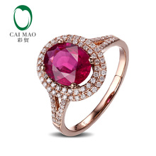 CaiMao 1.5ct Natural Pink Tourmaline & 0.35ct Diamond 18k  Gold gemstone engagement ring Fine Jewelry