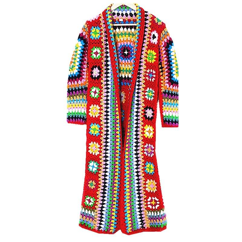 شحن مجاني 2019 جديد أزياء 100% الصوف معطف للنساء بالاضافة الى حجم فضفاض قميص طويل الأكمام ماكسي يدوية الوطني البلوزات-في سترات صوفية من ملابس نسائية على  مجموعة 1
