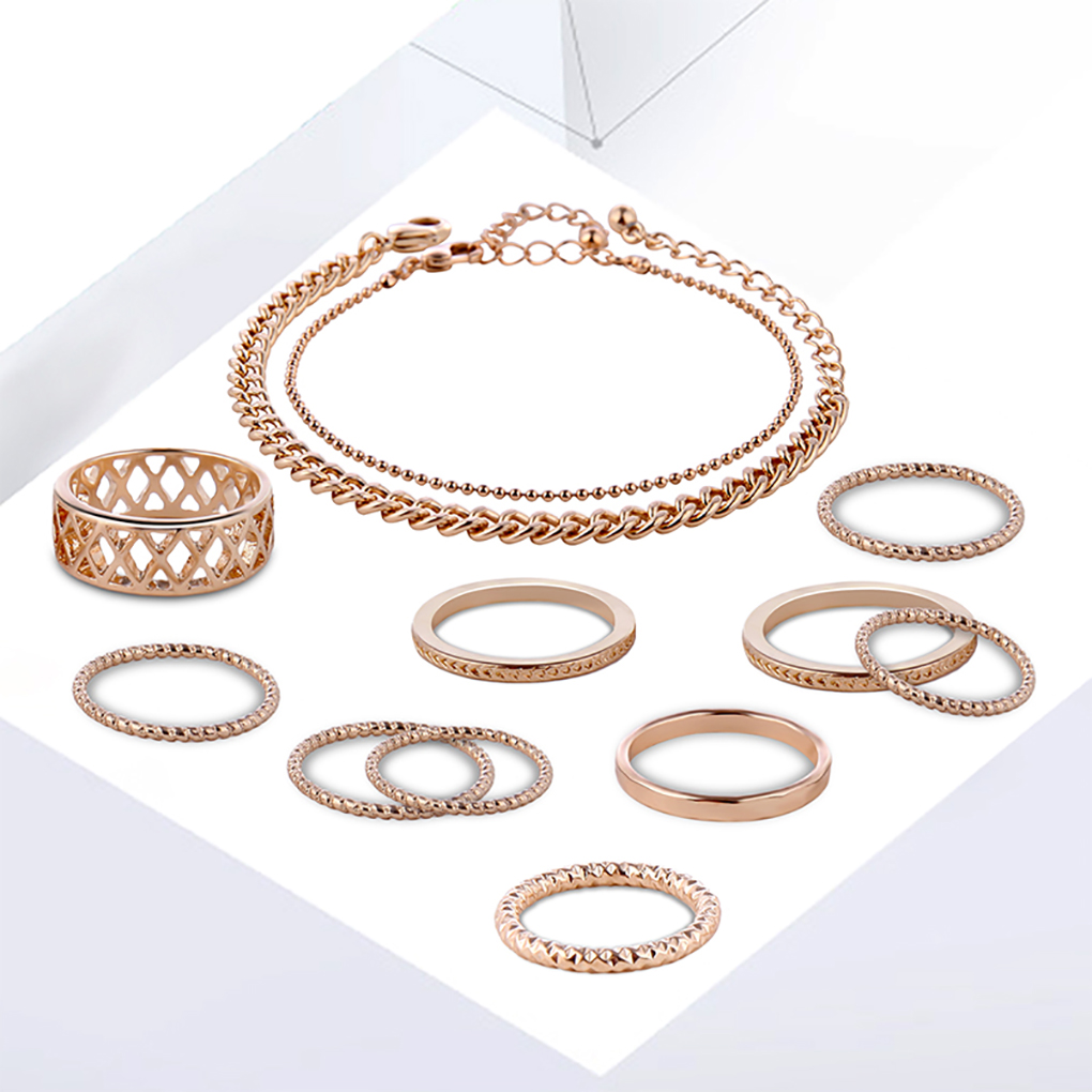 2018 Office Lady Gold Color Bracelet Hollow Single Lap Finger Rings Women Daily Jewelry Accessories