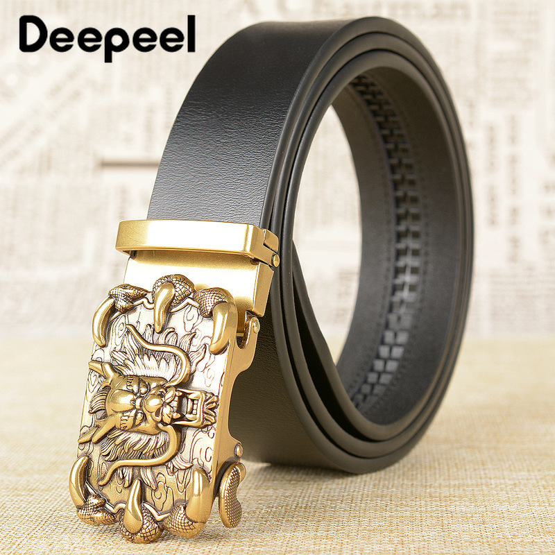 Deepeel 3.5*115/120cm High-end Business Luxury Men's Belt Vintage Chinese Dragon Automatic Buckle Genuine Leather Belt Fit Gift