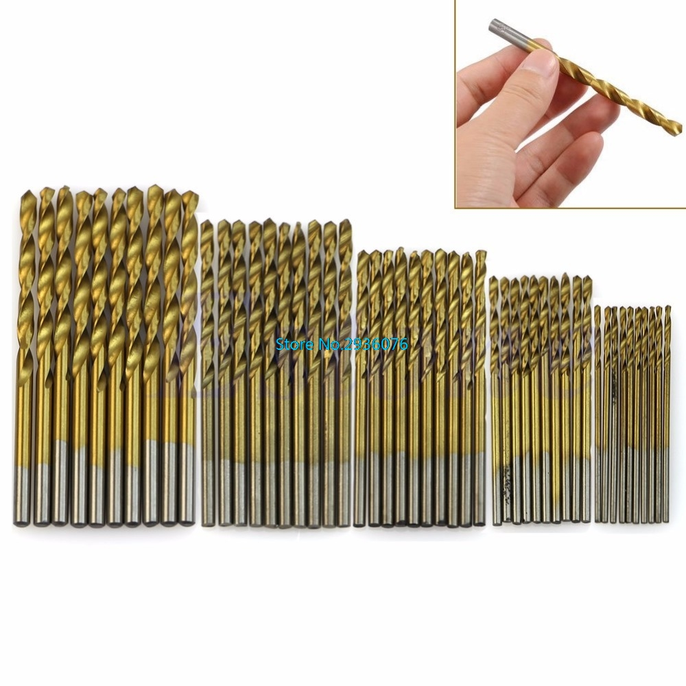 50Pcs/lot Titanium Coated HSS High Speed Steel Drill Bit Set Tool 1/1.5/2/2.5/3mm 13pcs lot hss high speed steel drill bit set 1 4 hex shank 1 5 6 5mm free shipping hss twist drill bits set for power tools