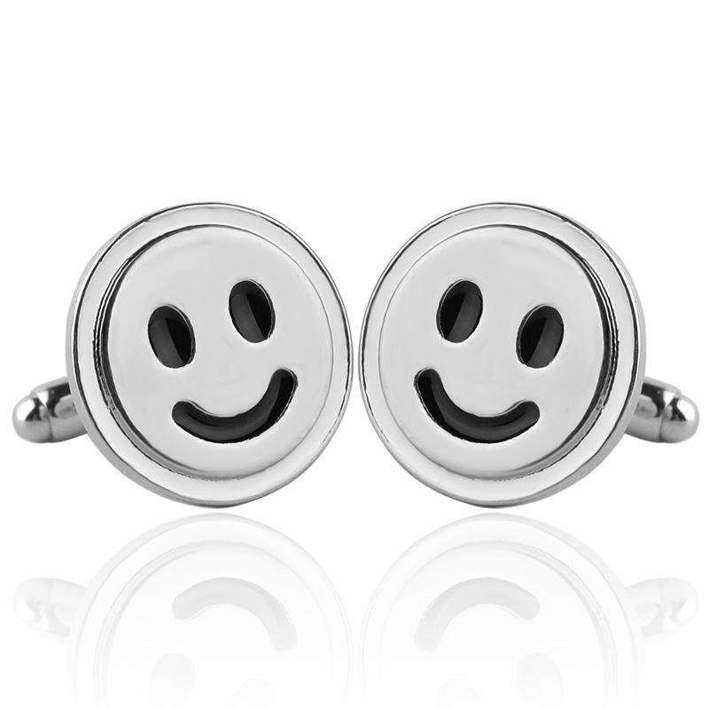 24 Pairs/Lot Smile Round Shirt Cuff Link Vintage Boho Antique Silver Plated Handmade Cufflinks Craft Bulk Wholesale