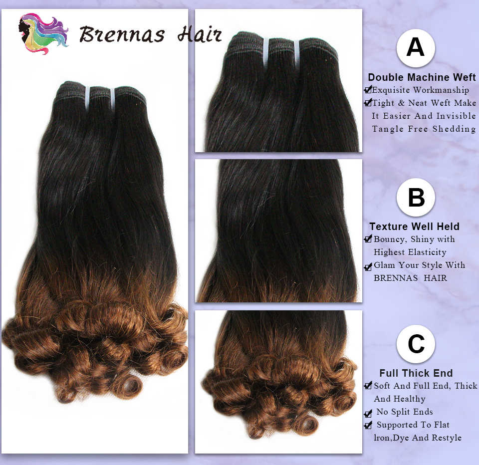 Double Drawn Funmi Hair Bouncy Curly Hair Weave 2 Tone Ombre Brzilian Fumi Spring Curl Remy Human Hair 3 Bundles Extensions Sale