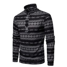 Laamei Men Sweater Pullovers Snow Printed Winter Warm Long Sleeves 2018 Winter Warm Christmas Knitwear Turtleneck Sweatercoat(China)