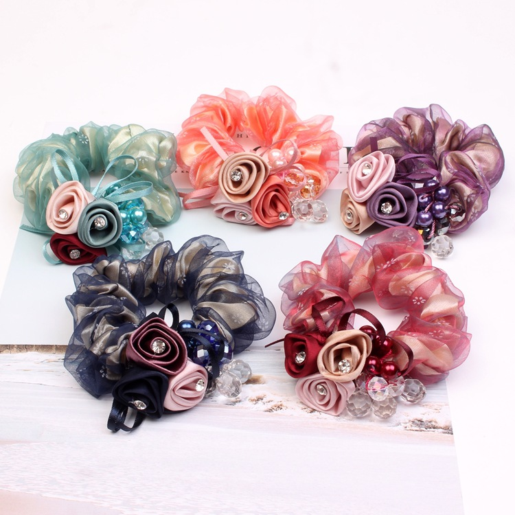Fashion Double Lace Flower Elastic Hair Rubber Bands Women Girls Tie Hair Ring Rope Accessories For Women Scrunchie Headdress