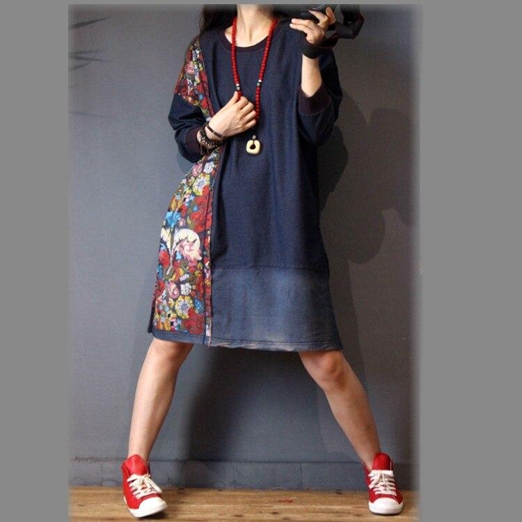 2019 printemps lâche vintage floral patchwork à manches longues denim robe robe de grande taille